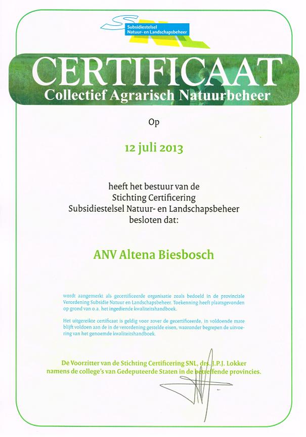 Certificaat ANV